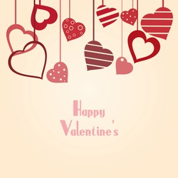 Vintage vector valentine's background with hearts and copy space for your text