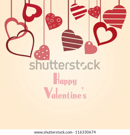 Vintage vector valentine's background with hearts and copy space for your text - stock vector