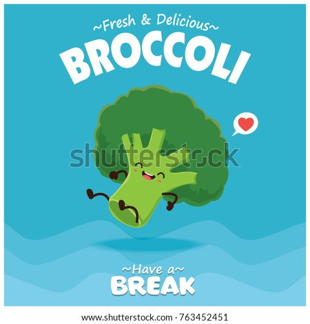 Vintage vegetable poster design with vector broccoli character.