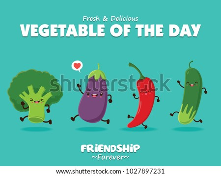 Vintage vegetable poster design with vector broccoli, egg plant, chili, pea characters.
