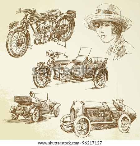 vintage vehicles - hand drawn set