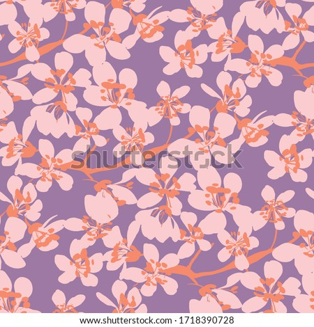 Vintage vibes rosy pastel color flowers seamless pattern for background, fabric, textile, wrap, surface, web and print design.