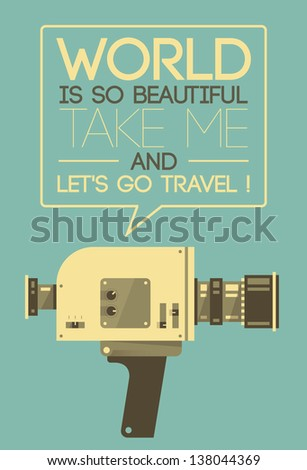 vintage video camera says world