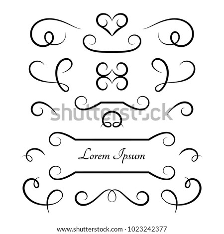 Vintage vignettes and flourishes, set of calligraphic decorative design elements in retro style, vector swirly embellishment on white