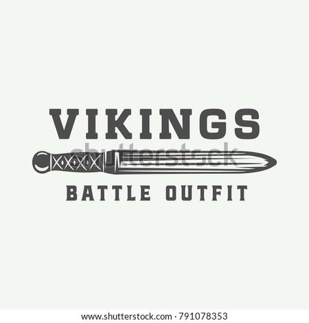 vintage vikings logo  label