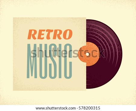 Vintage vinyl record in a paper case. Retro vector illustration. Place your text