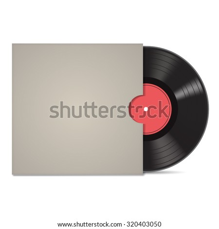 Vintage vinyl record in sleeve over white. Vector illustration