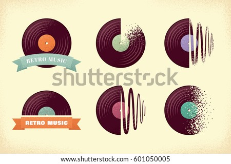 Vintage vinyl records labels set. Grunge vinyl records with ribbons and sound waves. Retro vector design elements
