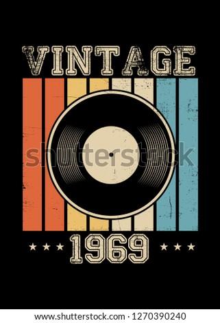 vintage 1969 vinyl retro poster apparel distressed