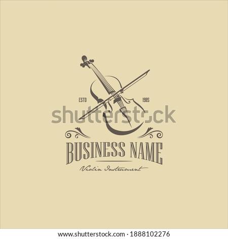Vintage Violin Viola Fiddle Cello Bass Headstock Music Instrument Logo Design Сток-фото ©