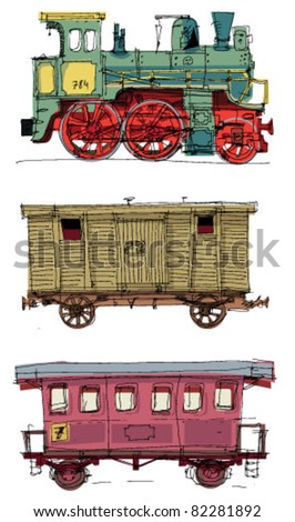 vintage wagons and locomotive