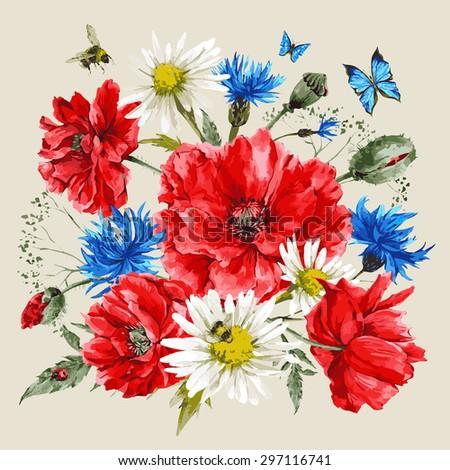 vintage watercolor bouquet of