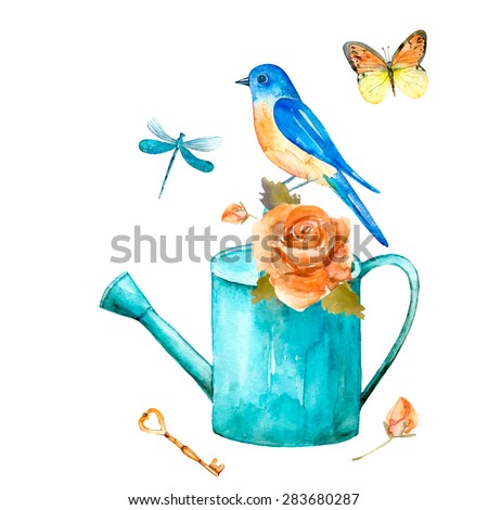 Vintage watercolor card. Watercolor set of vintage elements: butterfly, rose flower, bird, keys, dragonfly, watering can. Retro romantic collection of hand drawn elements for your design.
