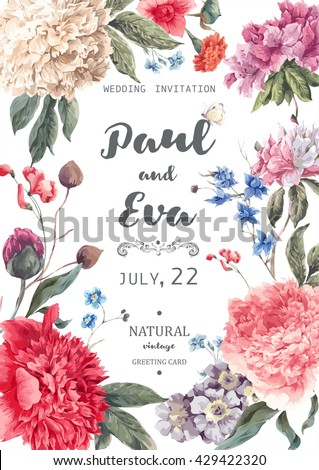 Vintage watercolor floral vector wedding invitation with peonies and garden flowers, botanical natural peonies Illustration. Summer floral peonies greeting card