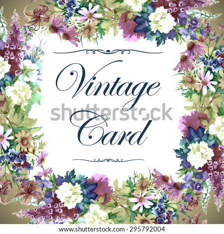 Vintage Watercolor Greeting Card with Blooming Flowers. Roses, Wildflowers and Peonies on a White Background with Place for Your Text. Vector illustration. #295792004