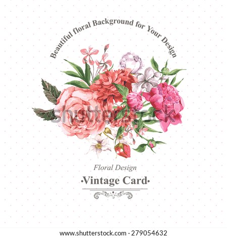 Vintage Watercolor Greeting Card with Blooming Flowers. Roses, Wildflowers and Peonies, Vector Illustration on a White Background