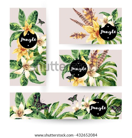 Vintage watercolor summer set with tropical green leaves and exotic flowers, butterflies, feathers in bohemian style. Nature invitation. Botany. Collection natural vector decorative design elements.