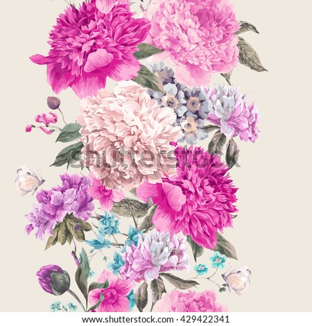 Vintage watercolor vector floral seamless border, Bouquet of peonies and wild flowers, Watercolor botanical natural peonies Illustration. Summer floral peonies greeting card