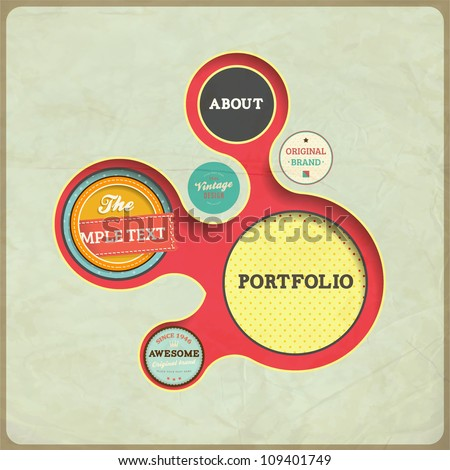 Vintage Web design template. Eps 10 vector Illustration. Old paper texture, retro style.