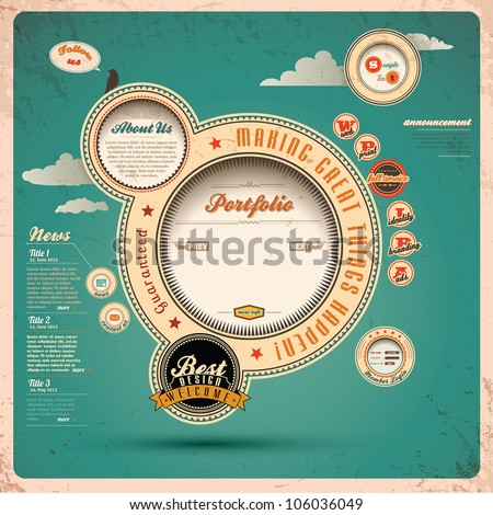 Vintage Web design. Vector Illustration. - stock vector
