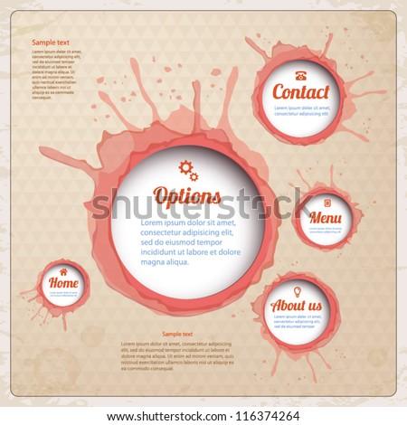 Vintage Web design with wine spots. Vector Illustration.