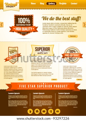 Vintage web template with old banner icons