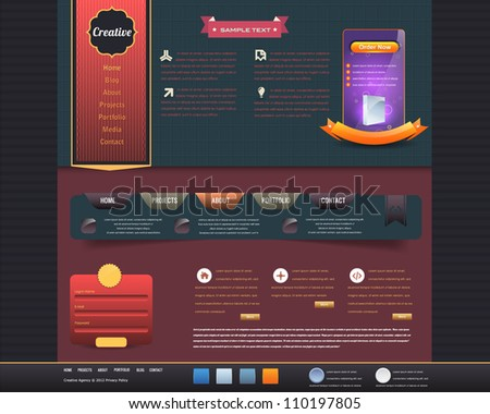 Vintage Website design vector elements