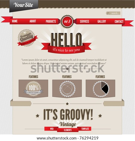 Vintage website elements template
