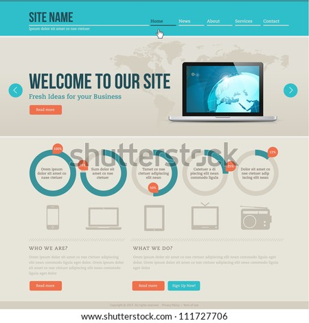 Vintage website template - stock vector