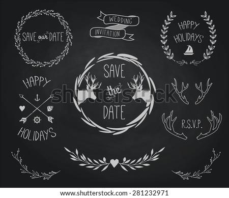 Vintage Chalkboard Wedding Invitations Design Sets Download Free