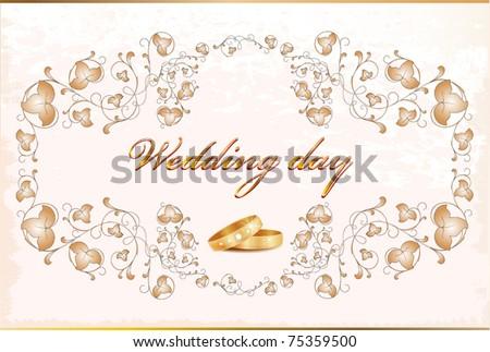 stock vector Vintage wedding card