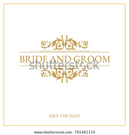 Vintage wedding card design with gold baroque ornament.