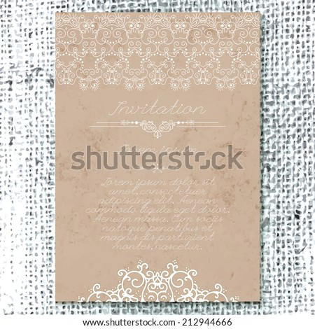 Vintage Wedding Card Or Invitation With Abstract Lace Decoration On A Realistic Burlap Texture