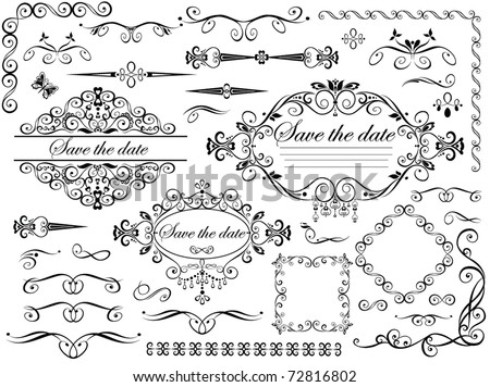 stock vector Vintage wedding design elements