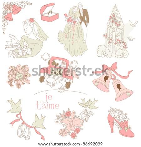 Vintage Wedding Design Elements - for Scrapbook, Invitation in vector - stock vector