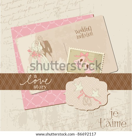 stock vector Vintage Wedding Design Elements for Scrapbook