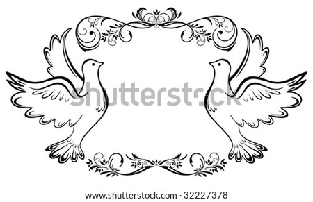 stock vector Vintage wedding frame