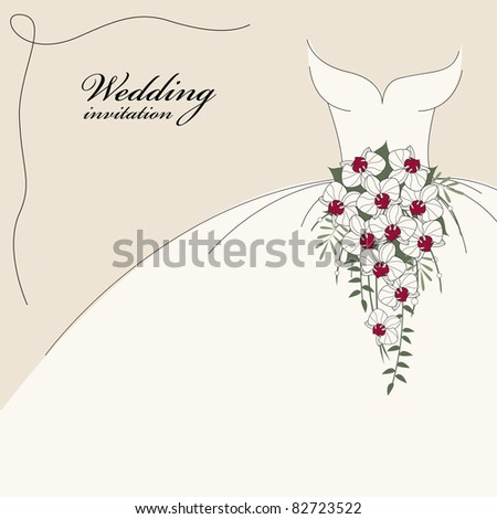 stock vector Vintage wedding invitation background with dress and cascade