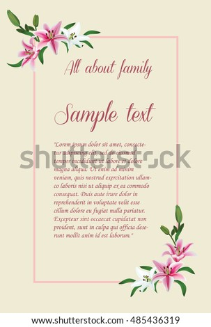 Vintage wedding invitation card,Lily on light yellow background ,Vector Illustration #485436319