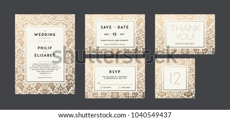 Vintage Wedding Invitation collection. Modern design. Wedding Invitation design with damask background. Tradition decoration for wedding. Vector illustration