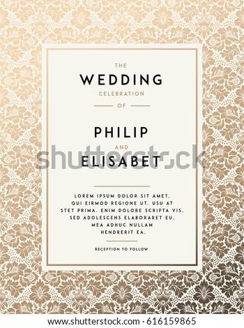 Vintage Wedding Invitation design template with damask background. Tradition decoration for wedding. Vector illustration #616159865