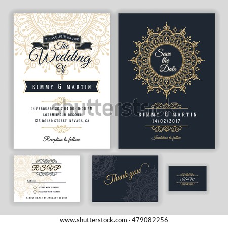 Wedding invitation cards download free vector art stock vintage wedding invitation mehndi mandala design sets include invitation card save the date rsvp stopboris Images