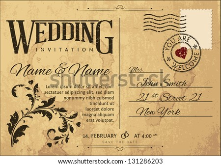 Vintage Wedding Invitation on Postcard