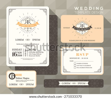 Vintage wedding invitation set design Template Vector place card response card save the date card