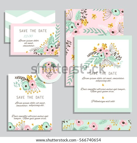 Vintage wedding invitation set design template with abstract flowers.  Can be used for Save The Date, mothers day, valentines day, birthday cards, invitations.  #566740654