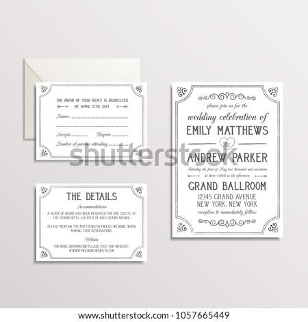 Vintage Wedding Invitation Suite - Invitation, RSVP, Details Card