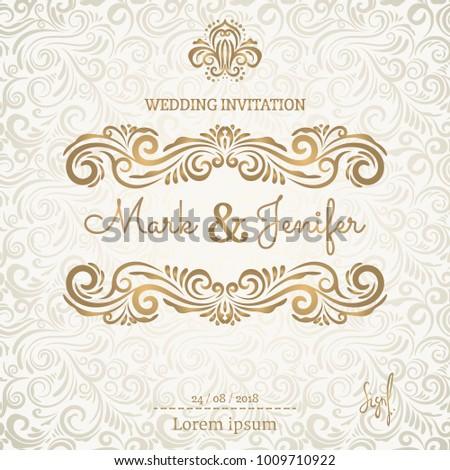 Vintage Wedding Invitation template. Classic design. Wedding Invitation design with vignette background. Decorative elements, frame for wedding. Vector.
