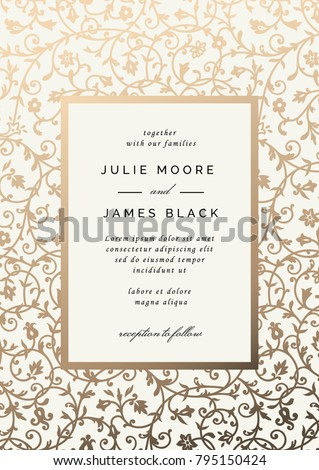 Vintage Wedding Invitation template with golden floral background. Vector illustration #795150424