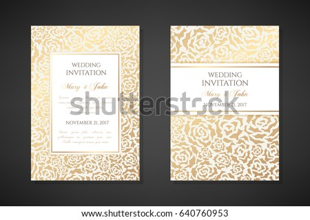 Vintage wedding invitation templates. Cover design with gold abstract roses ornaments. Vector  traditional decorative backgrounds.