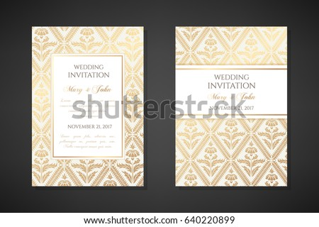 Vintage wedding invitation templates. Cover design with gold daisy flowers ornaments. Vector  traditional decorative backgrounds.